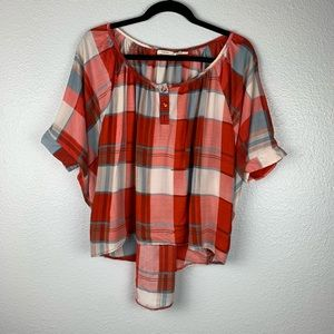 Poetry Plaid Button Back Batwing Blouse
